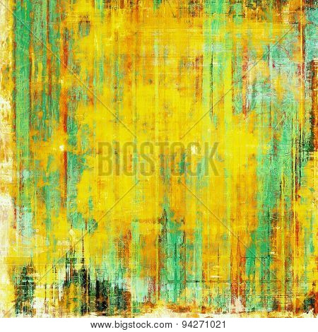 Old vintage background with retro-style elements and different color patterns: yellow (beige); green; red (orange); cyan