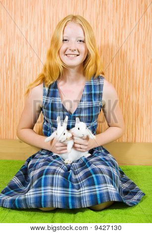 Teen  Girl With   Rabbits  Indoor