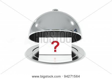 Silver Cloche With White Sign Question Mark