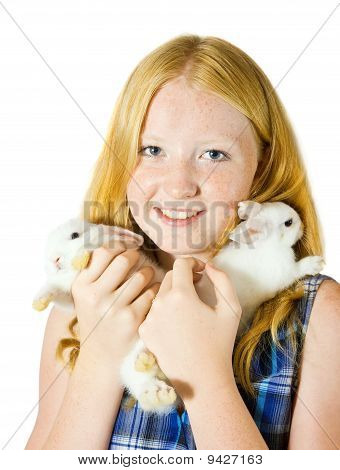 Teen Girl With Rabbits