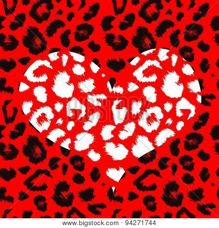 Heart with leopard print texture pattern