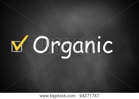 Organic Written On Black Chalkboard With Checkbox