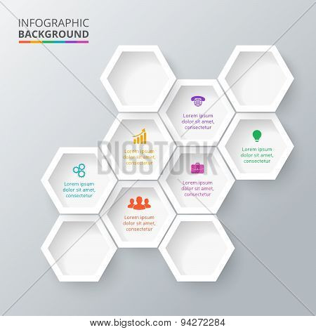 Vector hexagons for infographic.