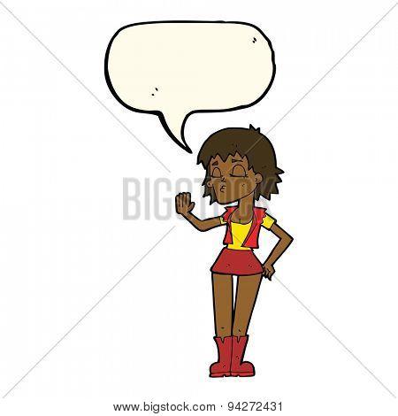 cartoon cool girl with speech bubble