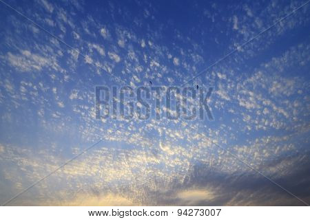 Orange - Blue Sunset and Dramatic Clouds