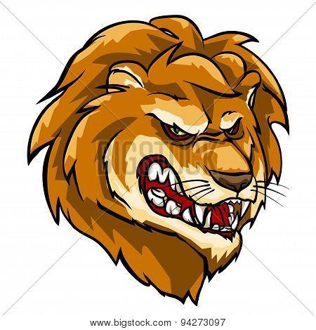 Lion mascot, team label design.
