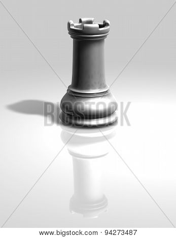 White Chess Tower Figurine Isolated Illustration