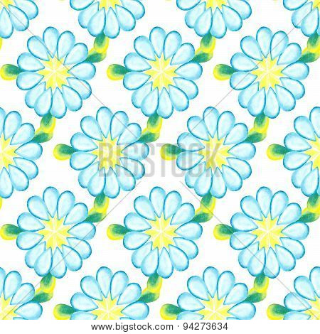 Colorful watercolor daisies isolated on white background.