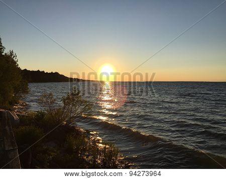 Sunset on sea in Michigan USA