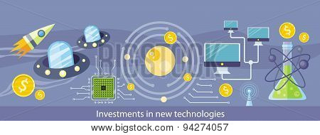 Investments in New Technologies. Horizontal Banner