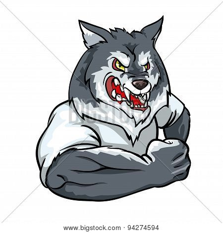 Wolf mascot, team label design.