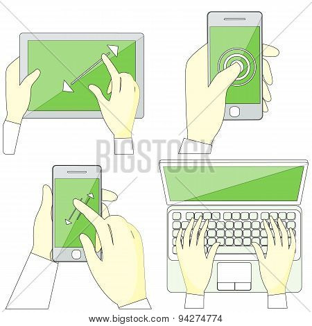 Hands Holding Digital Devices