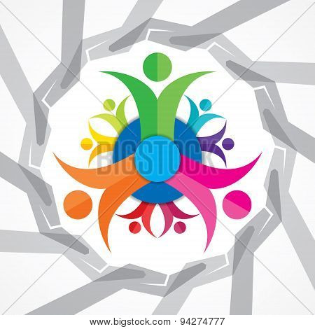 Teamwork Concept with colorful team members stock vector
