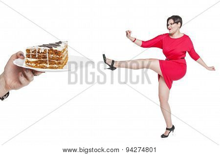 Beautiful Plus Size Woman Fighting Off Unhealthy Food Isolated