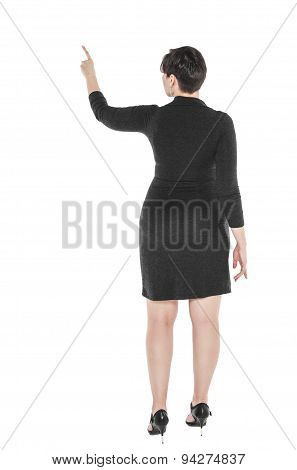 Plus Size Woman Showing On Something By Finger. Back Pose