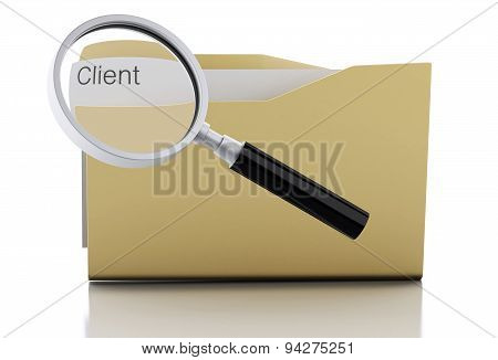 3D Magnifying Glass Examine Client In Folder