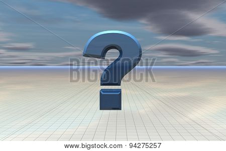 3D Render With Question Mark And Blue Sky