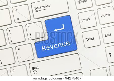 White Conceptual Keyboard - Revenue (blue Key)