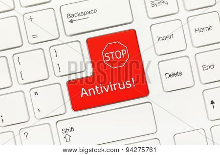 White Conceptual Keyboard - Antivirus (red Key)