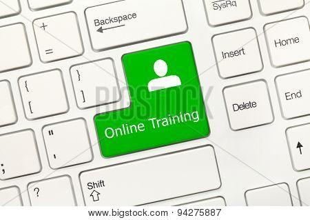 White Conceptual Keyboard - Online Training (green Key)