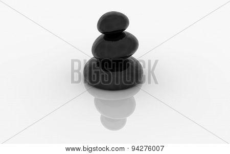 Zen Black Rock With Reflection  Illustration