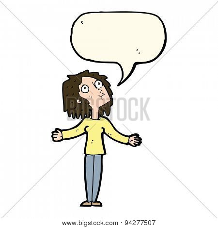 cartoon curious woman looking upwards with speech bubble