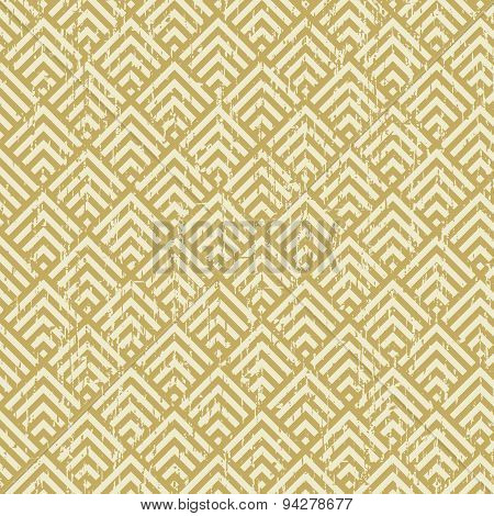Seamless vintage worn out yellow square check geometry pattern background.