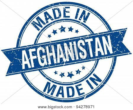 Made In Afghanistan Blue Round Vintage Stamp