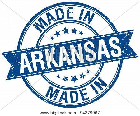 Made In Arkansas Blue Round Vintage Stamp