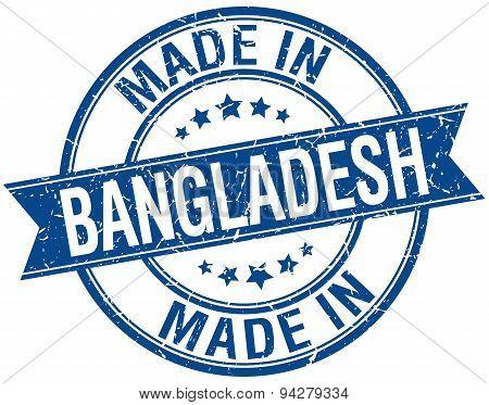 Made In Bangladesh Blue Round Vintage Stamp