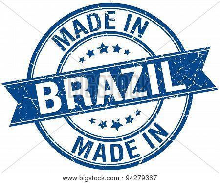 Made In Brazil Blue Round Vintage Stamp