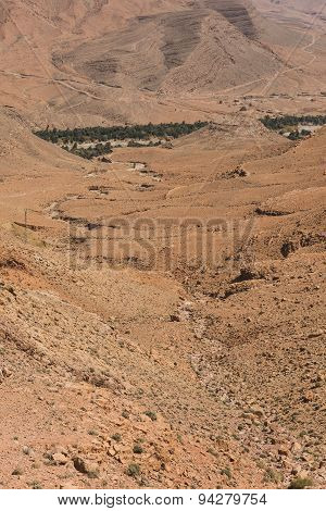 The Dried River In The Mountain In Morocco