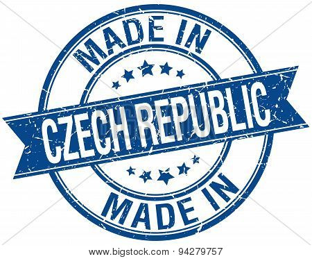 Made In Czech Republic Blue Round Vintage Stamp