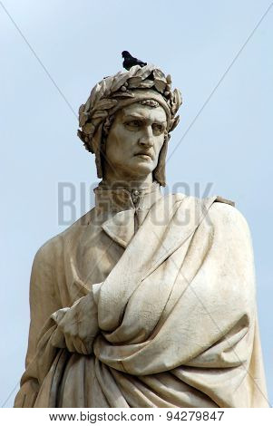 Detail Of The Statue Of Dante In Piazza Santa Croce In Florence - Italy