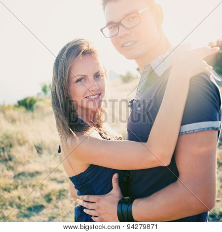 Stunning Sensual Outdoor Portrait Of Young Stylish Fashion Couple
