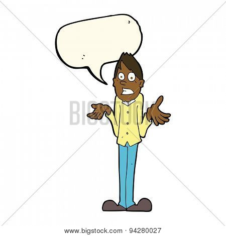 cartoon man shrugging shoulders with speech bubble