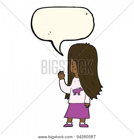 cartoon girl with pony shirt waving with speech bubble