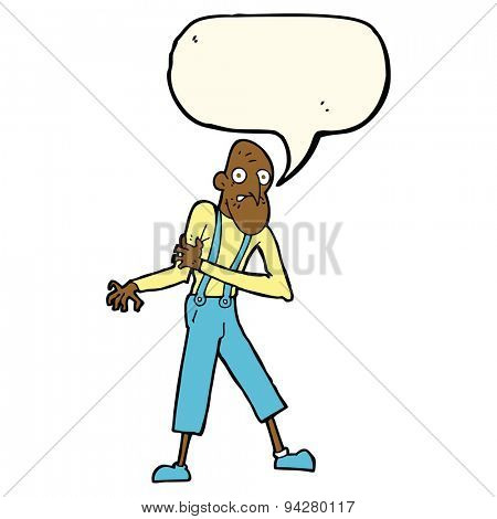 cartoon old man having heart attack with speech bubble