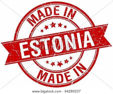Made In Estonia Red Round Vintage Stamp