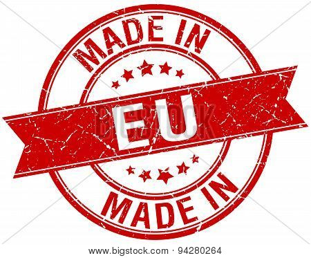 Made In Eu Red Round Vintage Stamp
