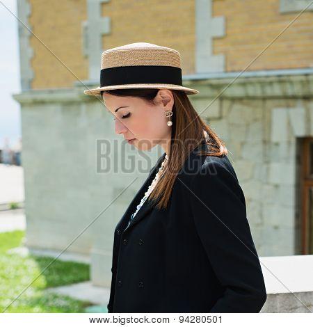 Stylish Parisian Woman Poses On A Photoshoot
