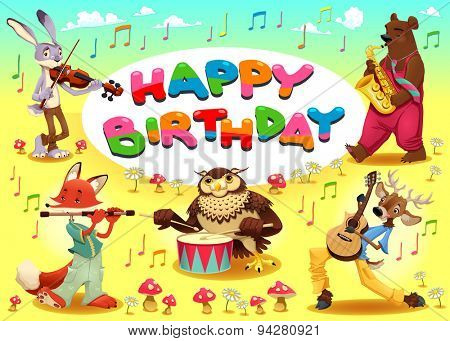Happy Birthday card with musician animals. Cartoon vector illustration with frame in A4 proportions.