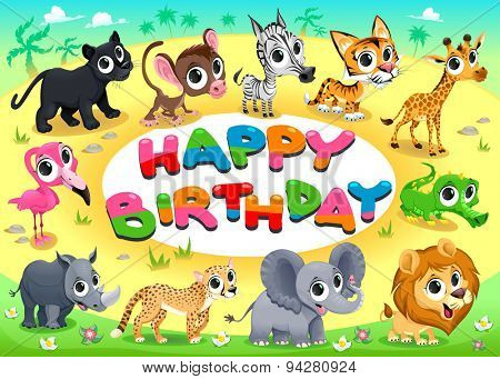 Happy Birthday card with Jungle animals. Cartoon vector illustration with frame in A4 proportions.