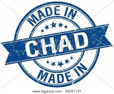 Made In Chad Blue Round Vintage Stamp