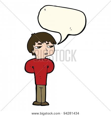 cartoon antisocial boy with speech bubble