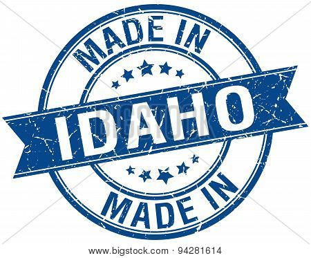 Made In Idaho Blue Round Vintage Stamp