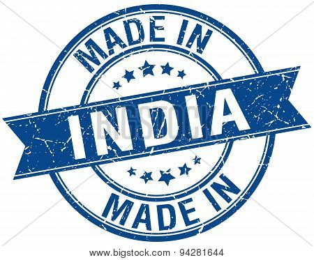 Made In India Blue Round Vintage Stamp