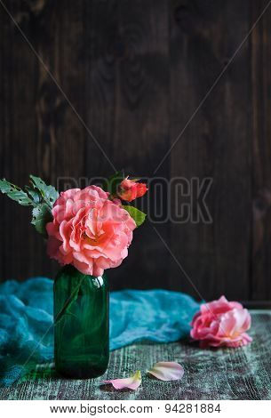 shrub roses in vase