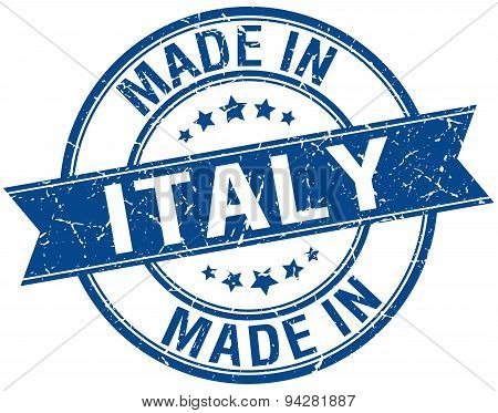 Made In Italy Blue Round Vintage Stamp