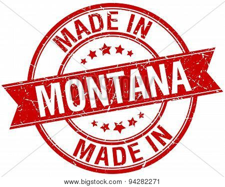 Made In Montana Red Round Vintage Stamp